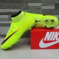 Sepatu Sepak Bola Nike Soccer Mercurial High Hijau List Hitam Football