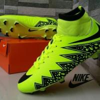 Sepatu Sepak Bola Nike Soccer Hypervenom High Hijau Hitam Football