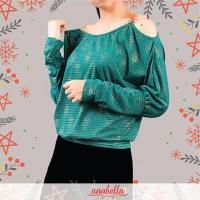 Baju Atasan Wanita Titik Gold Tangan Bolong Rantai IMPORT READY STOCK