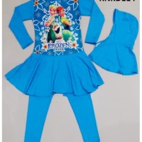 Baju Renang Anak Muslim Frozen Biru - RNKD114
