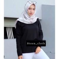 8TEEN T-shirt Kaos Wanita Lengan Panjang POLOS Warna Hitam