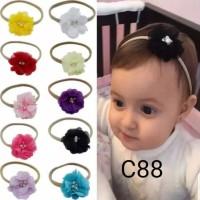 headband bandana karet nylon bunga untuk bayi anak perempuan