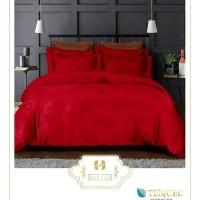 Bed Cover Set Sutera Tencel Jacquard warna merah 160-180x200/200x200