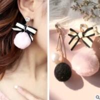 Anting Popular Pom Pom Ribbon Fur Ball Drop Earring