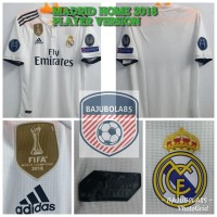 REAL MADRID HOME 2018 PLAYER VERSION FULLPATCH UCL - Putih, XL
