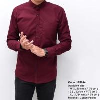 Plain Maroon Long Shirt merah marun polos kemeja pendek hem pria laki