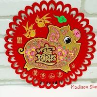 9818 Stiker Kaca Beludru Babi 2019 Dekorasi Tahun Baru Imlek Babi Emas