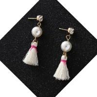 Anting Korea Sweet Cute Pearl Crystal Tassel Earrings JN1029