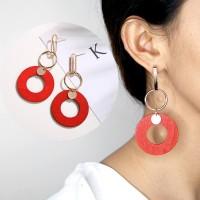 Anting Korea Wood Pearl Tassel Earrings AP2282