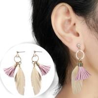 Anting Korea Round Tassel Feather Earrings AP2294