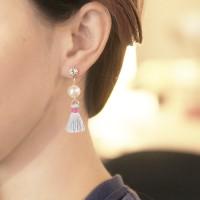 Anting Korea Sweet Cute Pearl Crystal Tassel Earrings JN1030