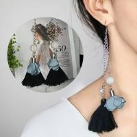 Anting Korea Black Flower Gray Tassel Earrings BA0005