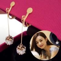 Anting Korea Zircon Tassel Long Ear Clip No Needle REA383