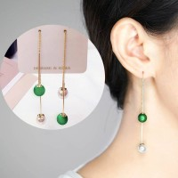 Anting Fashion Long Tassel Ball Earrings AP2082