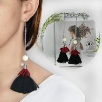 Anting Korea Tassel Black Red Wine Flower Earings BA0008