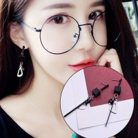 Anting Korea Black Square Strip Tassel Long Earrings AP2164