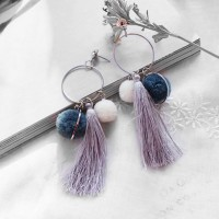 Anting Korea Ball Earrings Candy Color Tassel AP3328