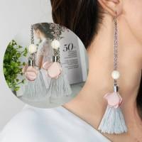 Anting Korea Tassel Gray Peach Earrings BA0009