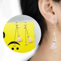 Anting Korea Long Pearl Stars Small Tassel Earrings AP2338