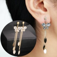 Anting Korea Long Tassel Earrings (No Needle) JU1157