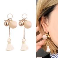 Anting Korea Geometrical Velvet Ball Tassel Earrings DES386