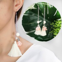 Anting Korea Tassel Beige Peach Earrings BA0006