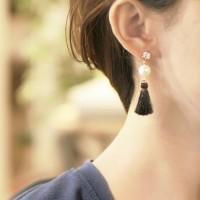 Anting Korea Sweet Cute Pearl Crystal Tassel Earrings JN1031