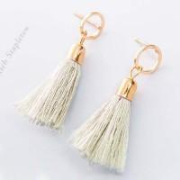 Anting Korea Korea Minimalist Circular Fringed Tassel Earrings APR305