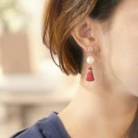 Anting Korea Sweet Cute Pearl Crystal Tassel Earrings JN1028