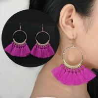 Anting Korea Tassel Earrings Gold Circle AP3286