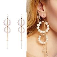Anting Fashion Pearl Circle Tassel Earrings AP2046