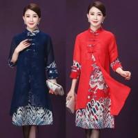 Dress cheongsam import/dress cheongsam dewasa/dress midi/baju import