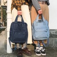Denim Korean canvas backpack Import / Tas ransel wanita Jeans Halus