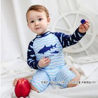 Baju Renang Anak Bayi Baby Laki / cowok Lengan panjang Swimsuit Shark