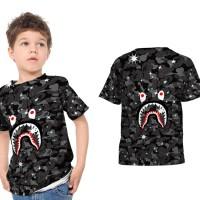 T shirt Kaos Anak Unisex SPACE A BATHING APE BAPE CAMO SHARK Fullprint