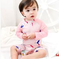 Baju Renang Anak Bayi Baby Cewek Lengan panjang Swimsuit Bird Pink Fas