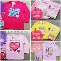 baju/kaos panjang anak perempuan/cewek by ekidz 1-12tahun POLOS/RAMPLE