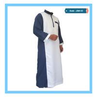 Jubah Saudi Variasi - Putih kombi birdong (JSM-03)