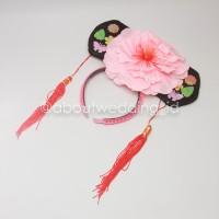 Bando anak imlek chinese ceongsam pink bunga oriental
