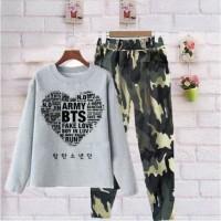setelan wanita army bts loreng / baju dan celana