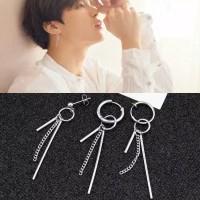 Anting BTS Park Jimin Kpop Earrings Silver Tassel rumbai panjang