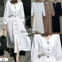 Maxi dress putih hitam coklat Elsa ECL bahan baloteli fit to L besar