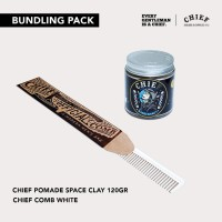 EKSLUSIF CHIEF POMADE SPACE CLAY 120 GR + CHIEF CARBON COMB