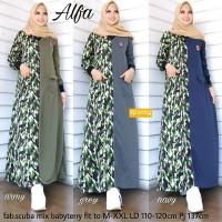 Alfa Maxy,dress maxi,gamis modis,baju muslim wanita,baju loreng wanita