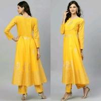 Dress Laris kajal id yellow kurta set baju india original