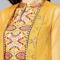 Dress Laris kajal id yellow kurta skirt setelan baju muslim india