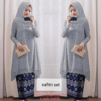 Baju Setelan Kebaya Remaja / Kebaya Brukat Import Set Safitri Abu