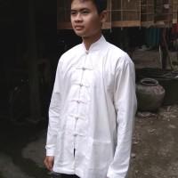 baju china wing chun kancing tali warna putih tulang dan hitam muslim