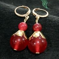 Anting Beautiful Natural 6-12mm red ruby Gemstone Lapis Emas