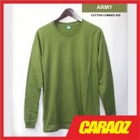 Kaos Polos LS HIJAU ARMY Baju Polos Tangan / Lengan Panjang - S